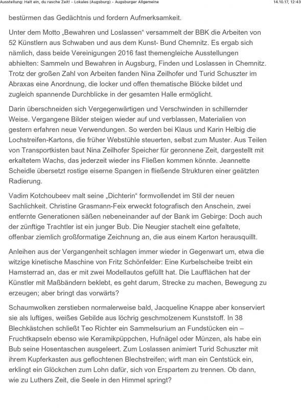 Ausstellung: Halt ein, du rasche Zeit! - Lokales (Augsburg) - Au